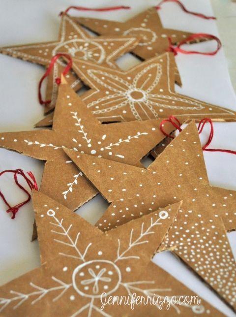 Photo of Hand-drawn recycled cardboard stars – Jennifer Rizzo