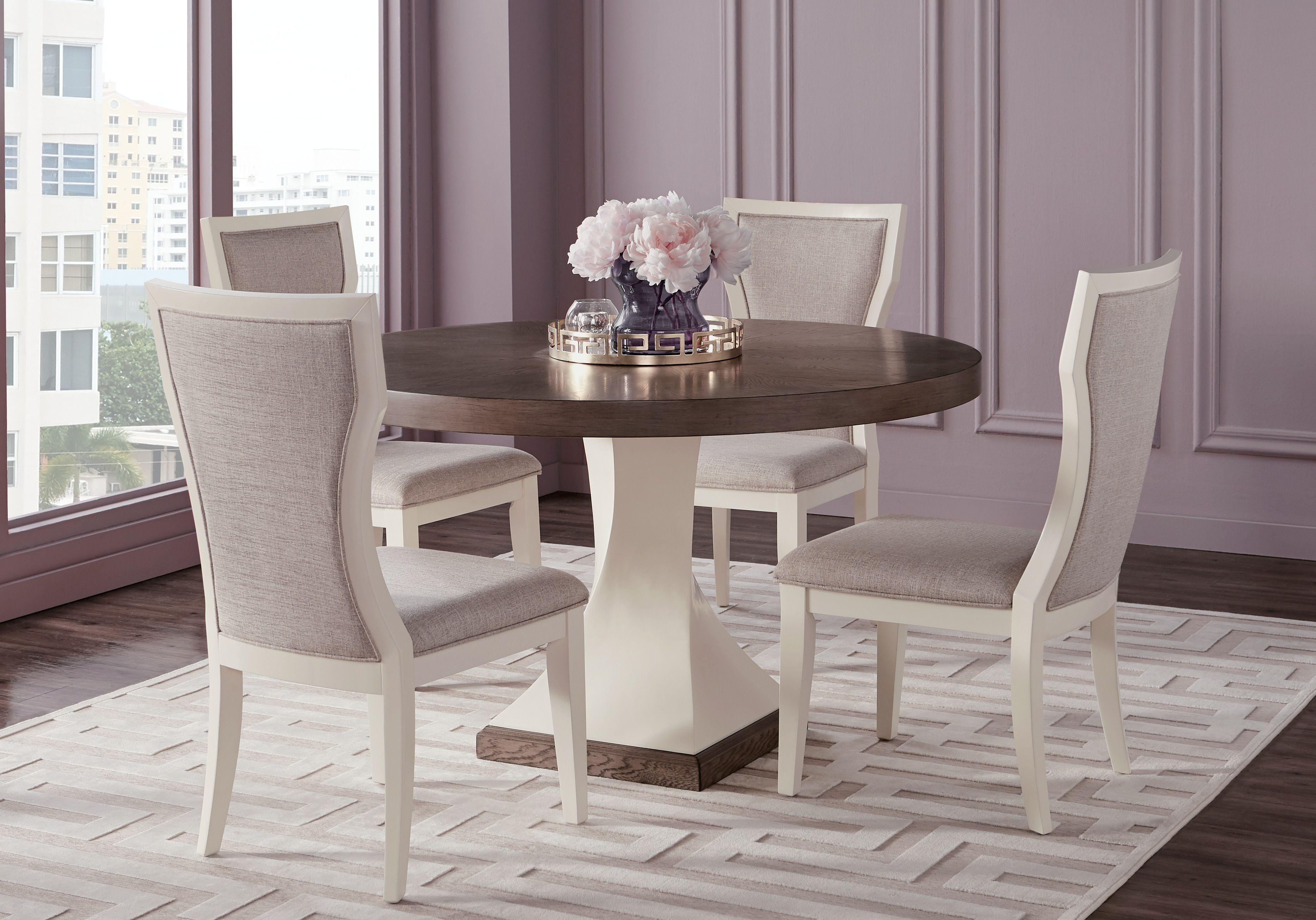Sofia Vergara Santa Fiora White 5 Pc Round Dining Room Dining Table Dimensions Dining Table Chairs Living Room Leather