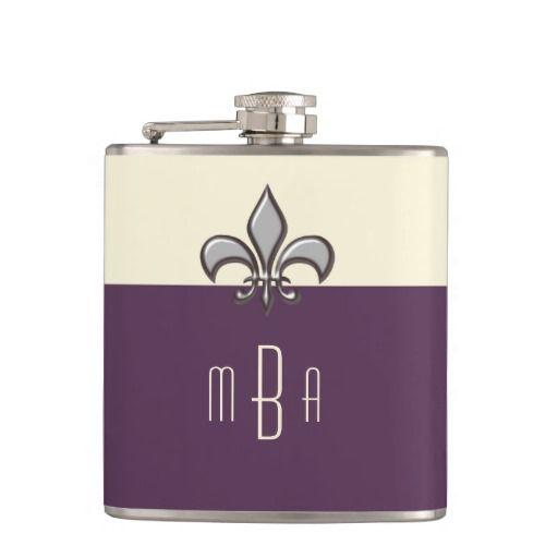 Monogram Purple Silver Faux Metal Fleur de Lis Flask #fleurdelis #flask #purple
