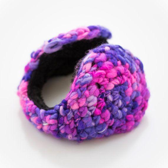 Woman Earmuff –Purple Pink Wool Crochet Earwarmer Valentine's Day