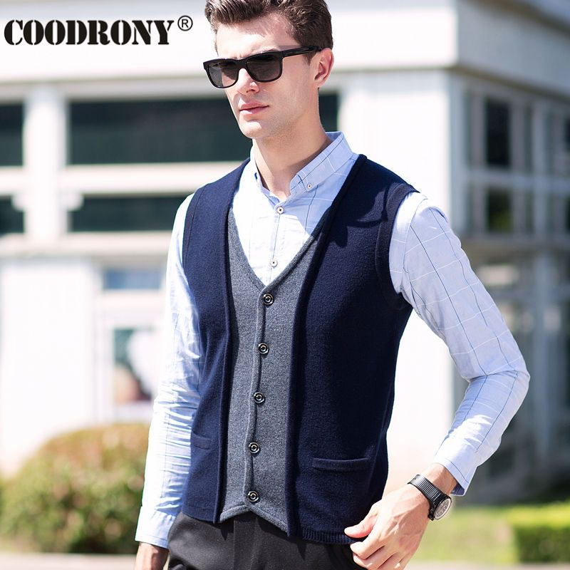 Winter Elegant Men Knitted Merino Wool Vest Coat V-Neck Sleeveless ...