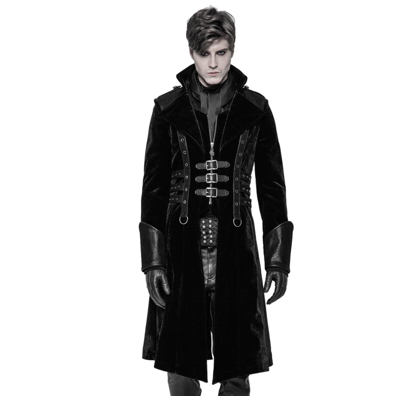 Samt Männer Mantel mit Schnallen und Epauletten