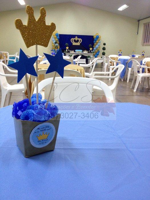 Decoração Festa Menino Principe Azul Dourado Ccs Decorações E