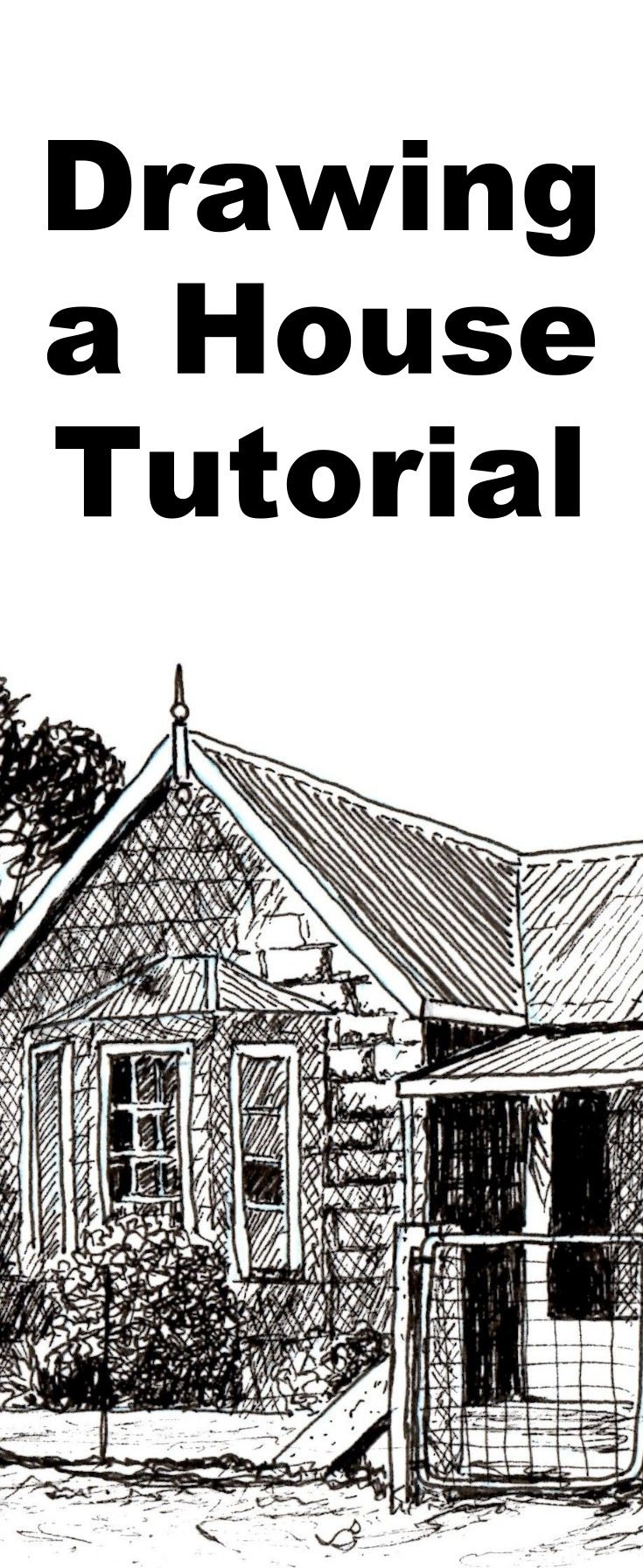 learn to draw buildings and houses with this pen and ink drawing