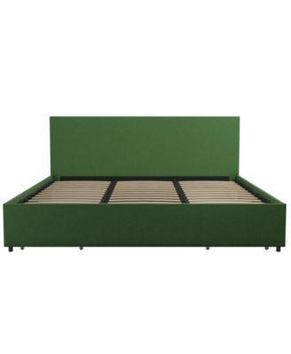 Novogratz Kelly Upholstered King Bed With Storage Green King