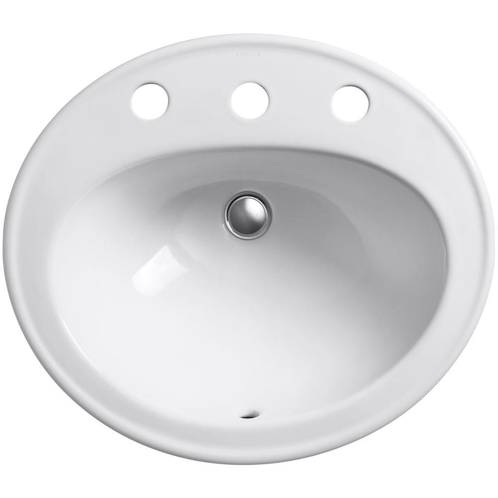 Kohler Pennington Drop In Vitreous China Bathroom Sink With Overflow Drain In White K 2196 8 0 With Images Bathroom Sink Sink Kohler