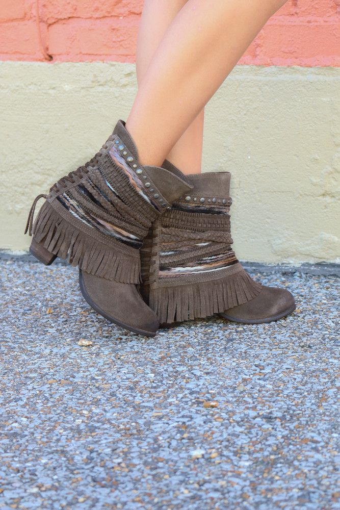 Not Rated Sun Riser Dark Taupe Braided Fringe Ankle Boot Fringe Ankle Boots Genuine Suede Boots