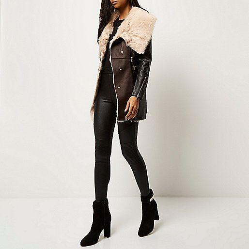 Dark brown faux sheepskin coat - jackets - coats / jackets - women