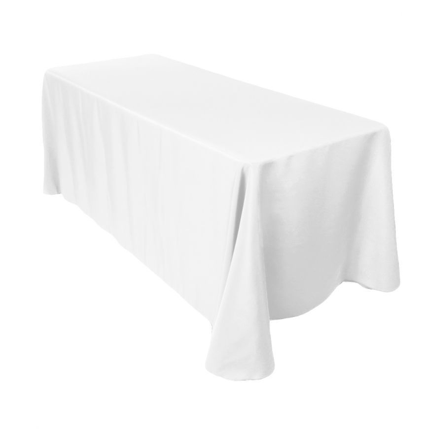 Rectangular Economy Polyester Tablecloth White