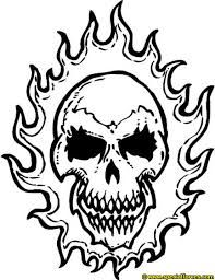 Image Result For Drawings Of Flaming Skulls Skull Coloring Pages Ghost Rider Tattoo Drawings