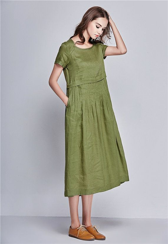 Linen Tunic Dress In Green, Maxi dress, linen dress woman, Green dress, pleated dress, short sleeve dress, Summer Linen Dress | Linennaive