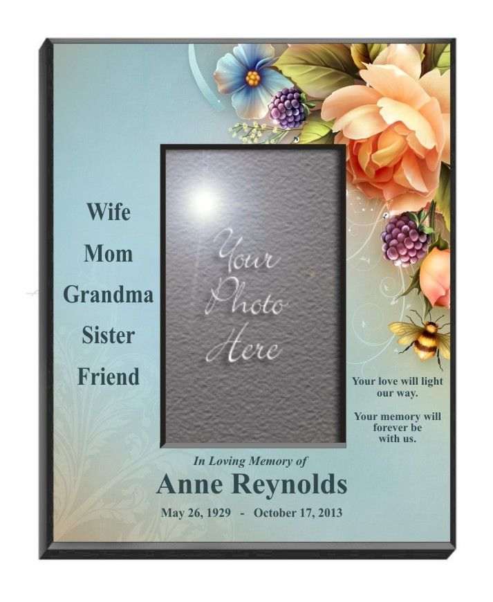 English Roses Personalized Memorial Picture Frame