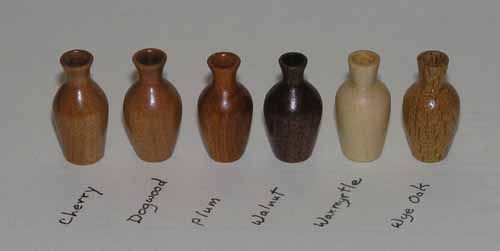 Doll House Miniature Turned Wood Vases And Bowls Firewood