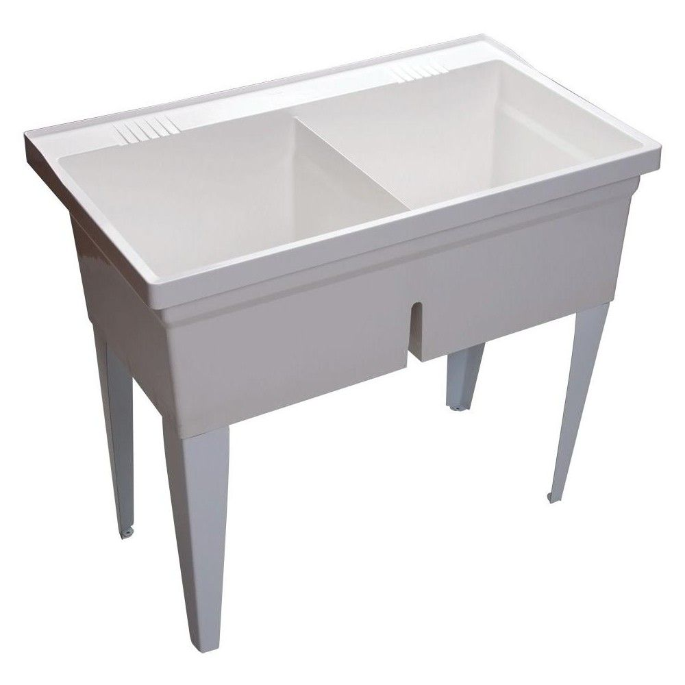 Proflo Pflt4024 40 Double Basin Free Standing Laundry Sink With