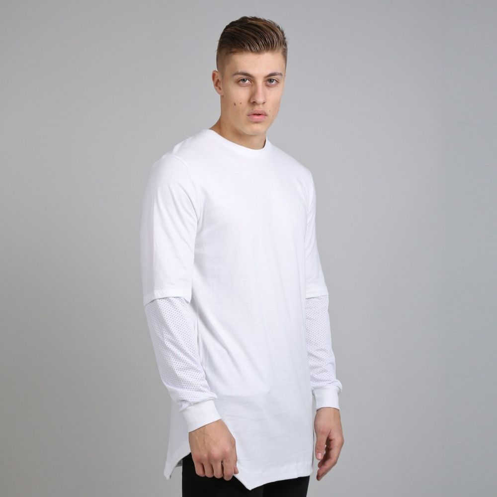 OrangeZone   King Apparel Perf Longsleeved Longline Tee Shirt White