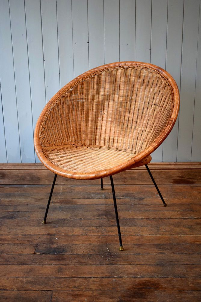 Vintage Satellite Round Circle Bamboo Cane Wicker Rattan Tub Chair  Mid Century