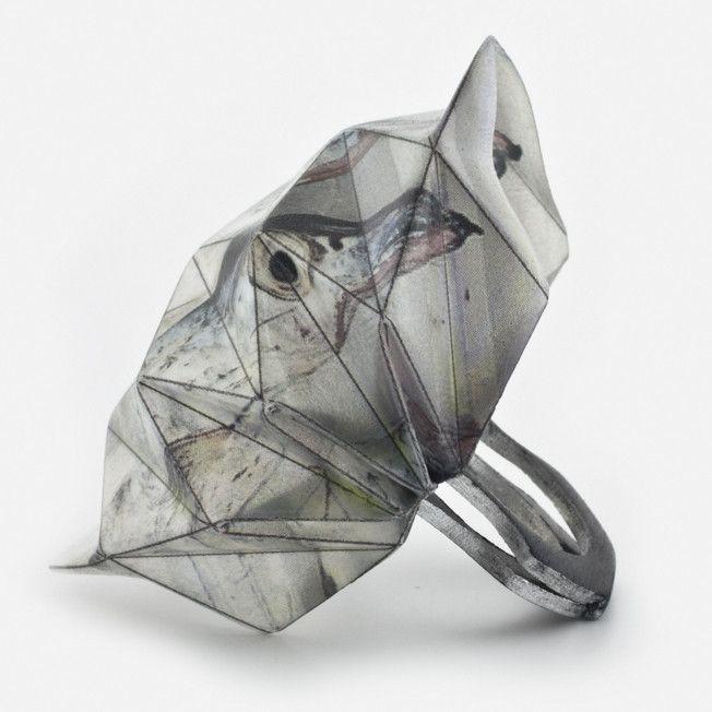 Fold Ring, grey bird
