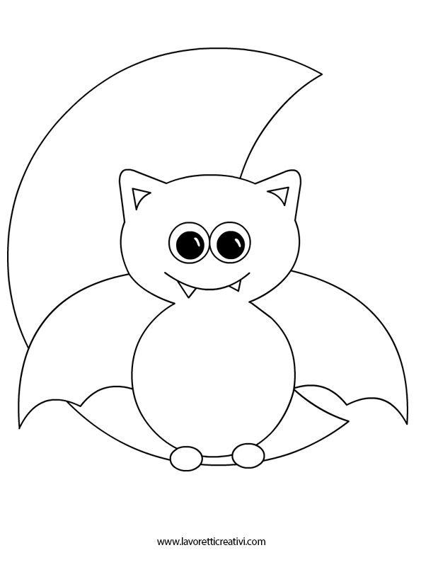 Luna Con Pipistrello Da Colorare Tuttodisegni Com Disegni Di Halloween Attivita Di Halloween Halloween Art