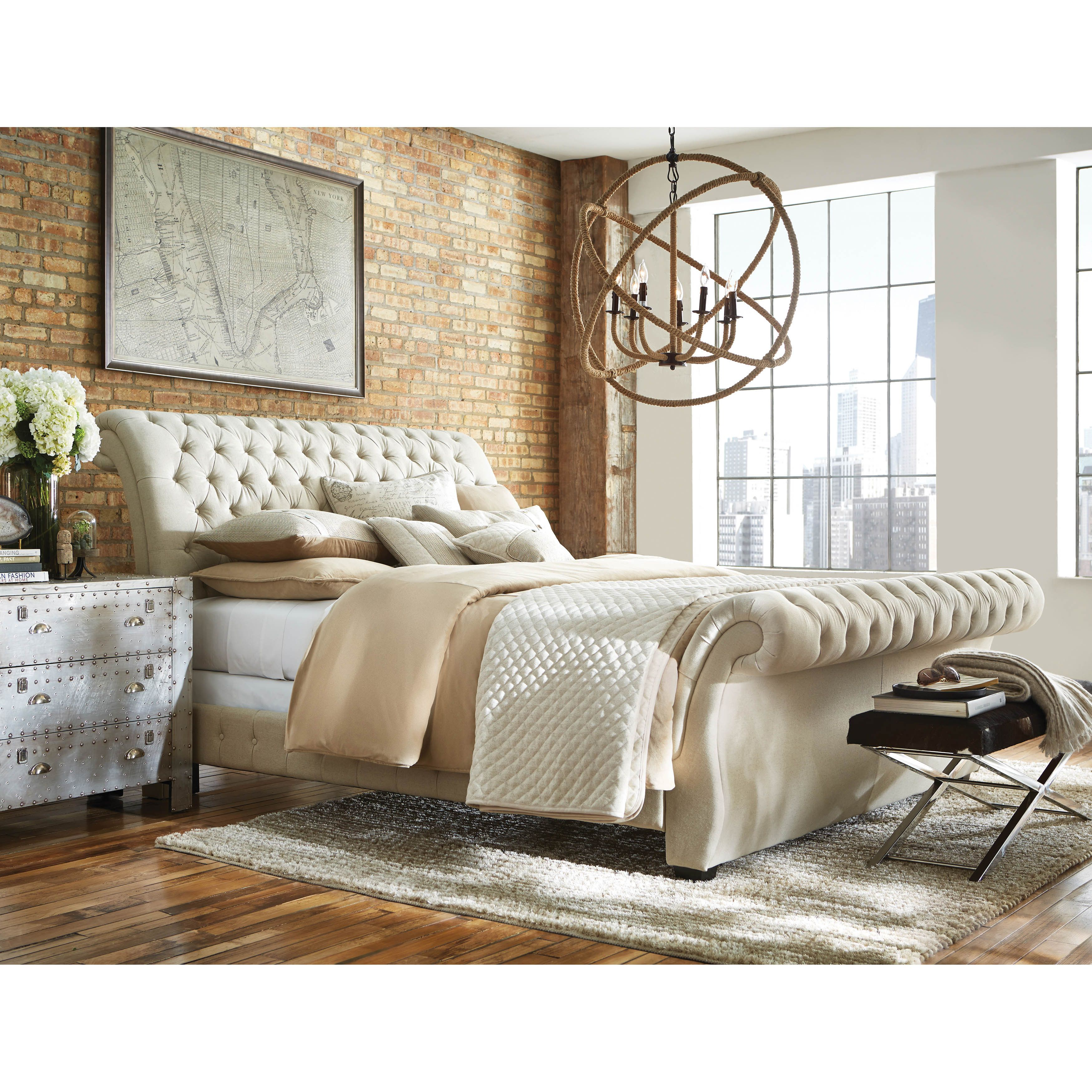 From the bombay collection upholstered sleigh bed made in - Nebraska furniture mart queen bedroom sets ...