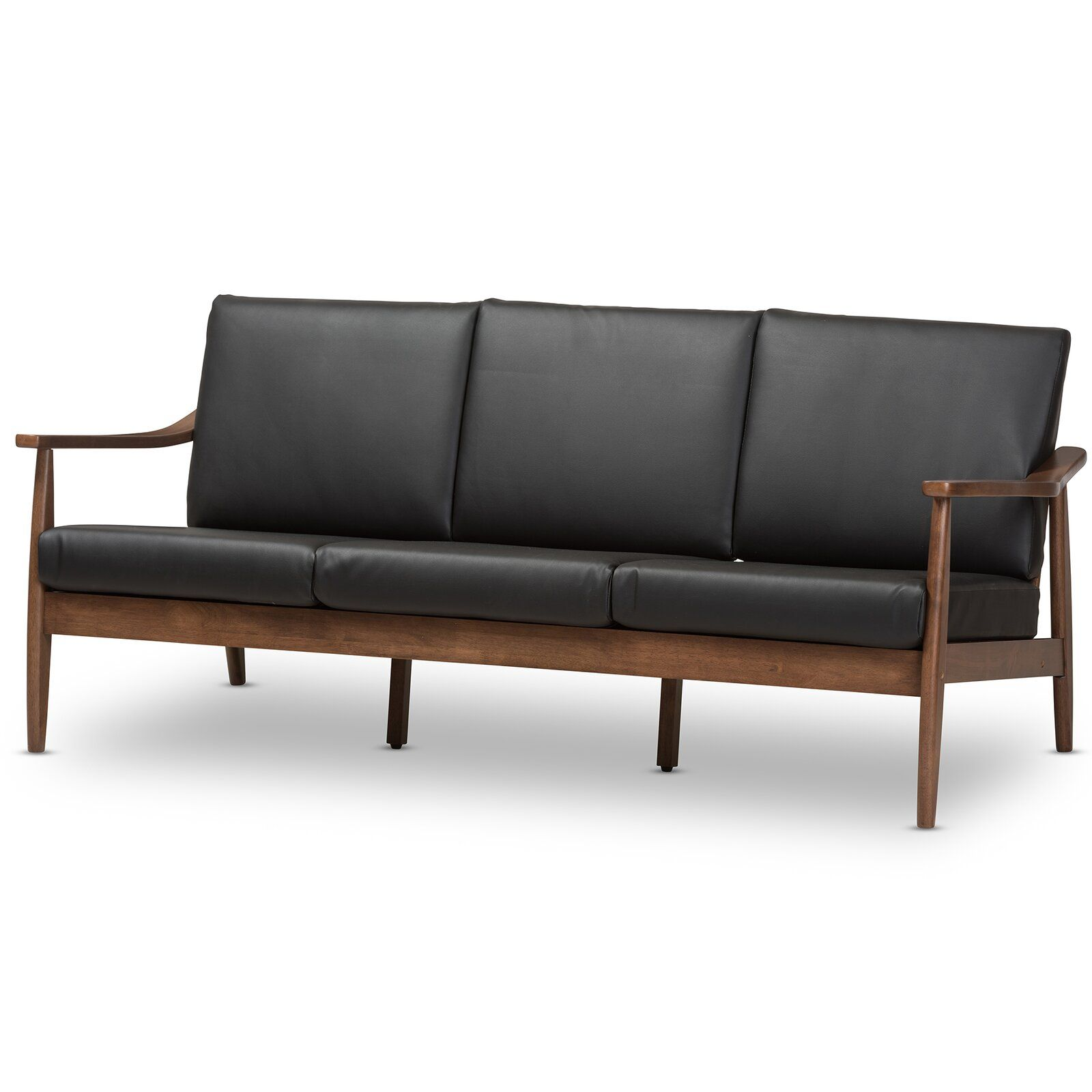 leaman midcentury modern faux sofa  faux leather sofa 3