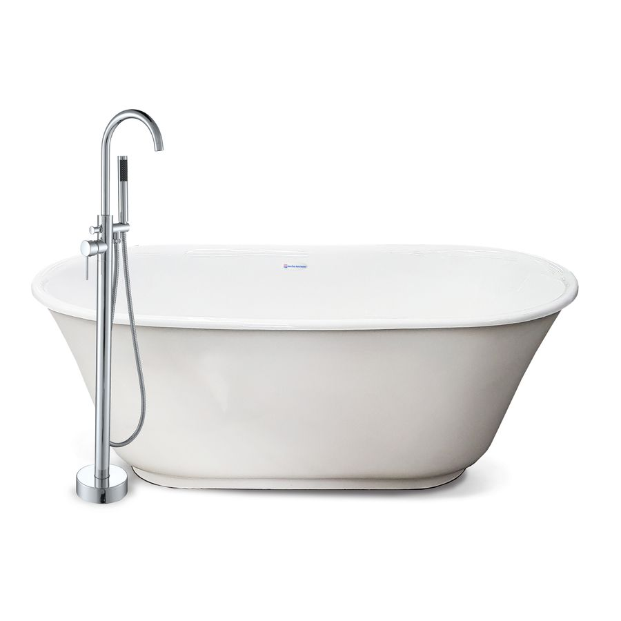 American Bath Factory Chelsea White Tub Acrylic Oval Freestanding Bathtub With Back Center Drain Common