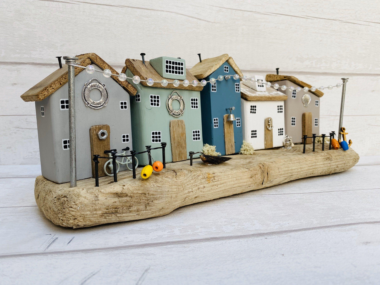 Photo of Coastal Street • Driftwood Houses • Coastal Art • Home Decor • Driftwood Ornament • Beach Art • The SeaSalt Shed • Nautical Decor • Beach