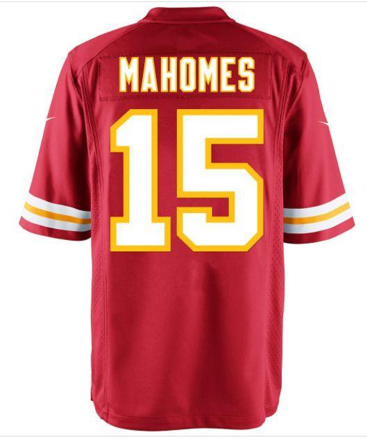 Mens #15 Mahomes Red Kansas Game Football Player Jersey
