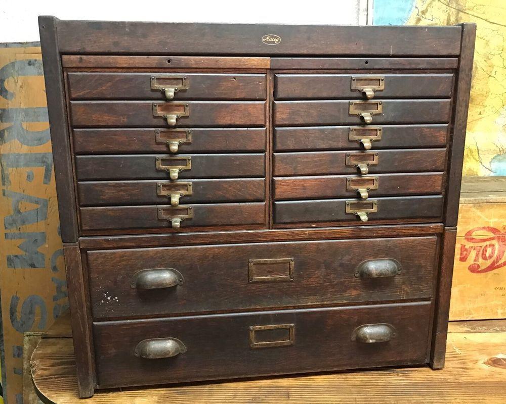 Antique Oak Ledger File Barrister 2 Stack Cabinet Macey Card