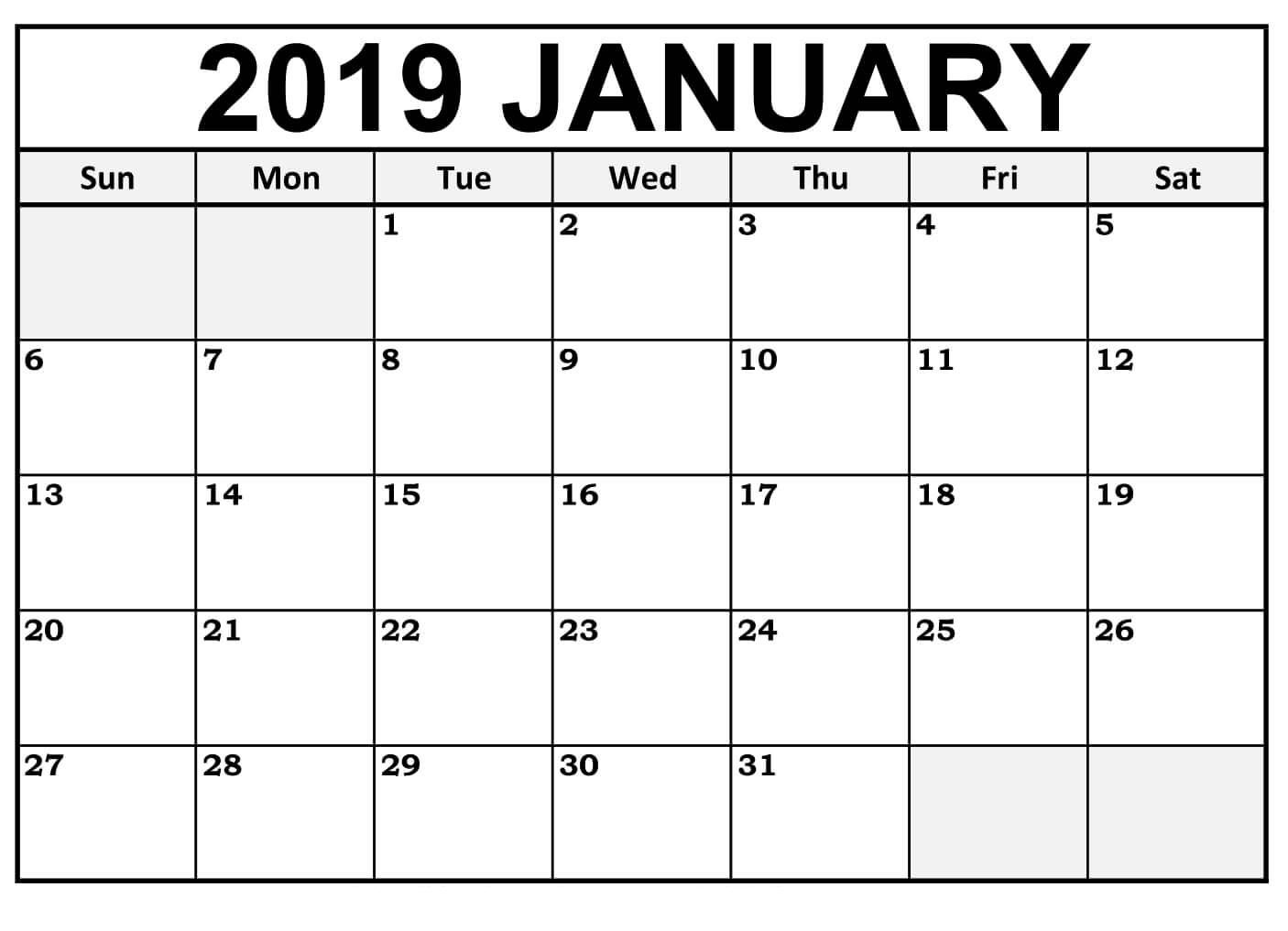 January Calendar 2019 Template Free Download Calendar Printables