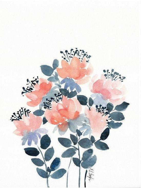 Fleurs De Corail Et Bleu Aquarelle Original Peinture Peinture