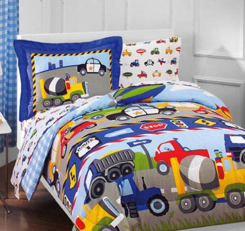 toddler boy bedroom sets. boys bedding sets twin construction set  Construction Trucks Police Cars Tractors Boys Kids