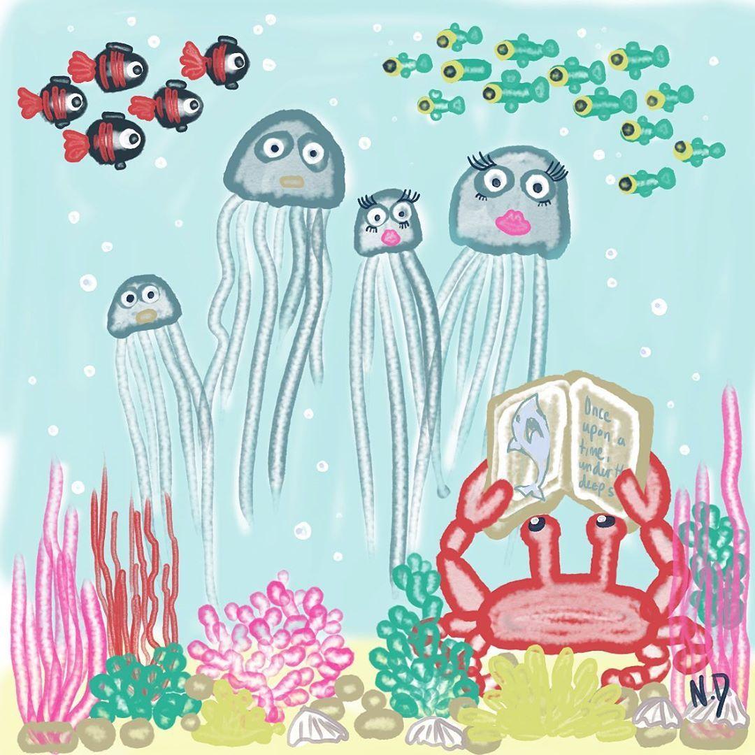 Schlafenszeitgeschichten tief unter dem Meer ... Gute Nacht  #art #artsy #book #childrenroom #crab #dailydrawings #digitalart #digitalpainting #fairytale #fish #fishdrawing #goodnight #happy #illustration #illustrationartists #jellyfish #nacht #personalized #poster #reading #schlafenszeitgeschichten #sketch #sketchbook #underwater #unter