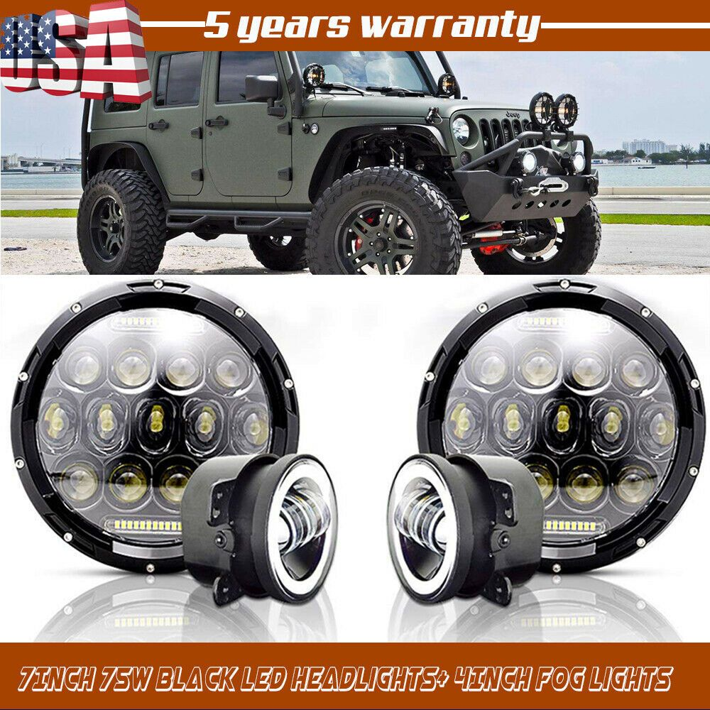 Ad Ebay 7inch 75w Led Headlights 2pc 30w Led Fog Lights For Jeep