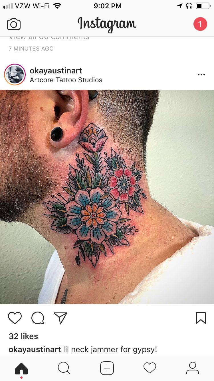 Pin by Liz Lundberg on Tat ideas Flower neck tattoo