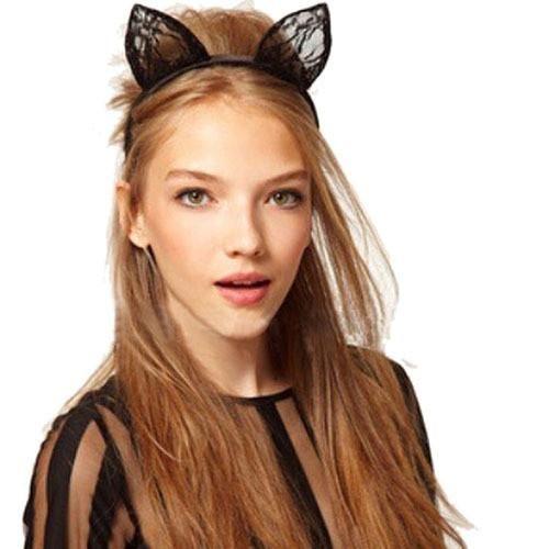 Black Lace Cat Ears Headband Hairband Women/'s Costume Hair Decor