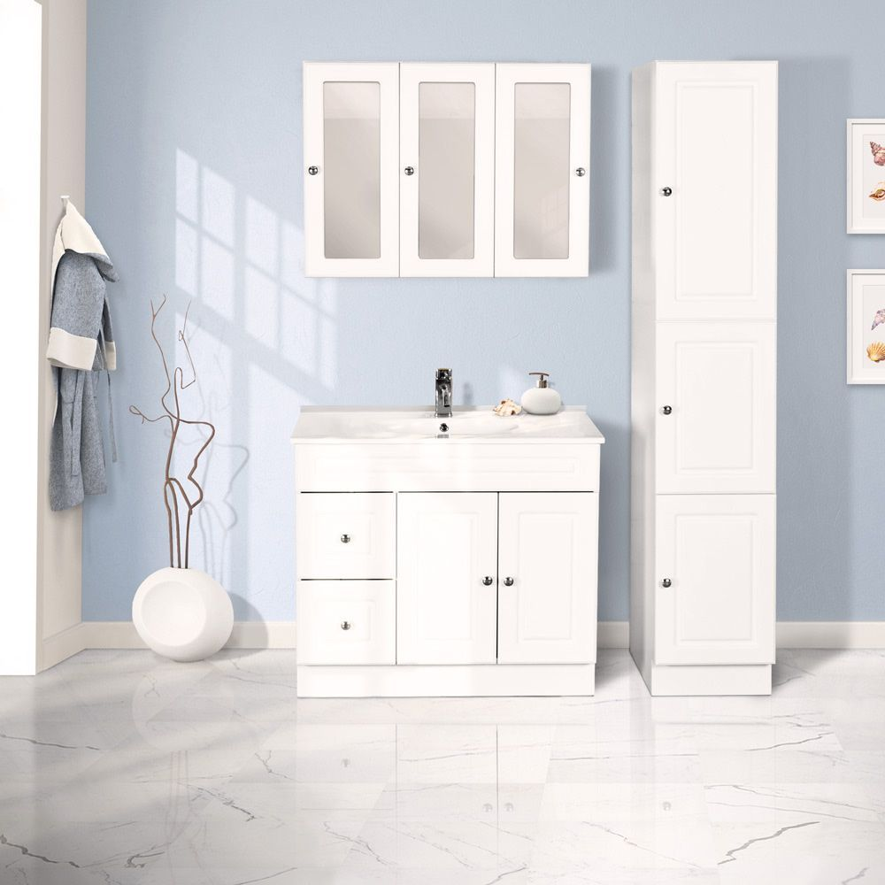 Best Combo 36 Matte White Classic Floor Vanity Set With Linen 400 x 300
