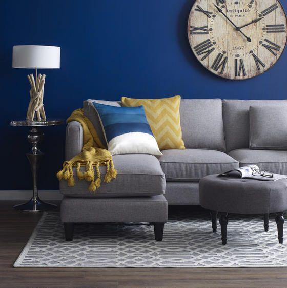 Lilliput Ottoman Smoke Grey Couch Blue Walls Blue Living Room Color Blue Living Room Color Scheme