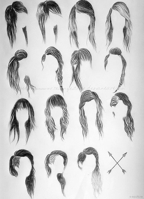 Different Type Of Hair Drawings Dessin De Cheveux