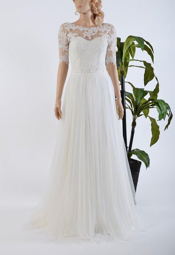 Strapless lace wedding dress with boat neck elbow sleeve lace bolero ...