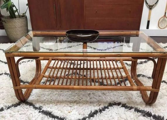 Vintage Rattan Coffee Table Franco Albini Style Glass Top Woven