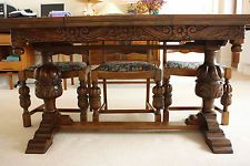 Carved Dark Oak Table and 6 Chairs, Antique, Old, bulbous leg, extending.