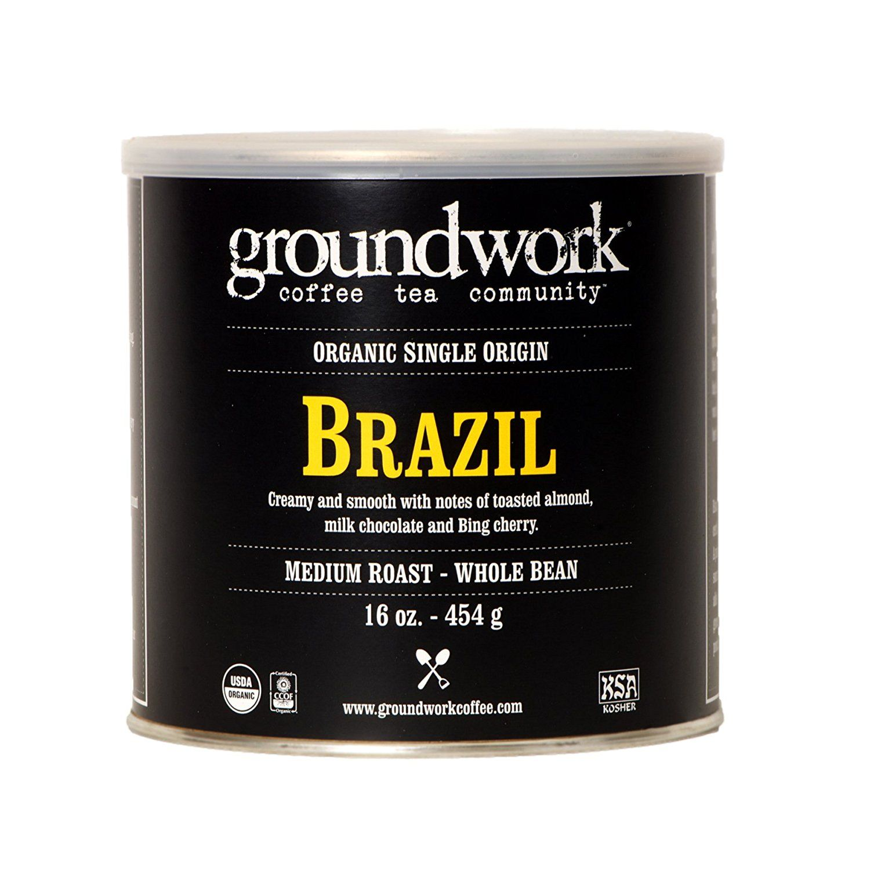 Groundwork Coffee, Organic Brazil, Whole Bean, 16Ounce