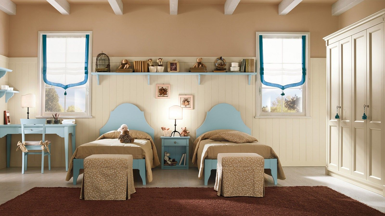 Callesella Camerette ~ Bedroom with two #beds cameretta con due letti in stile romantic