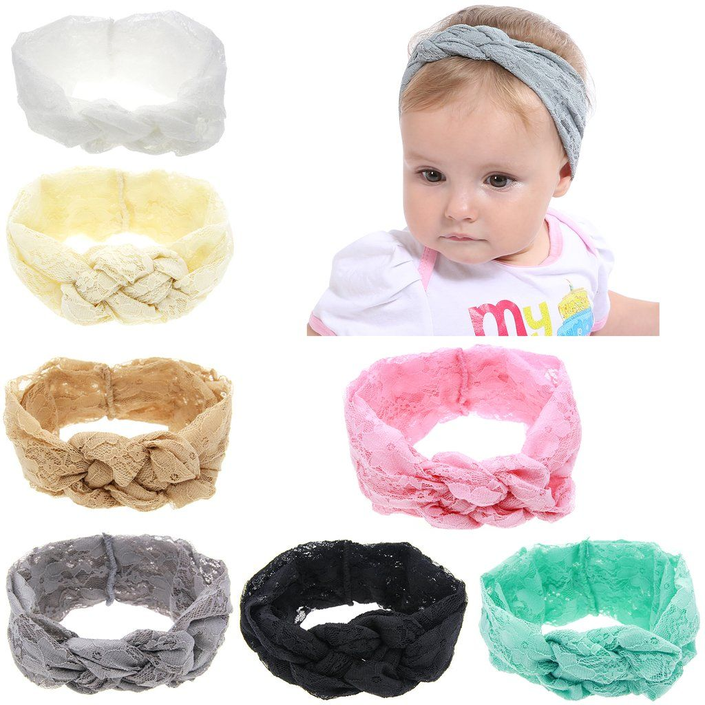 8PCS//Lot Solid Knotted Bunny Ear Elastic Headband Bulk Baby Girl Kids Toddlers