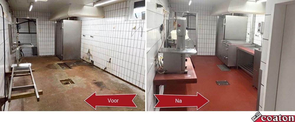 Het eindresultaat van deze Ucrete vloer die wij een tijdje geleden hebben aangelegd! Deze vloer is bovendien makkelijk schoon te maken en slipvrij. Perfect voor in horecakeukens! Meer info? KLIK: http://www.coaton.nl/renovatie/vloerrenovatie/ucrete/