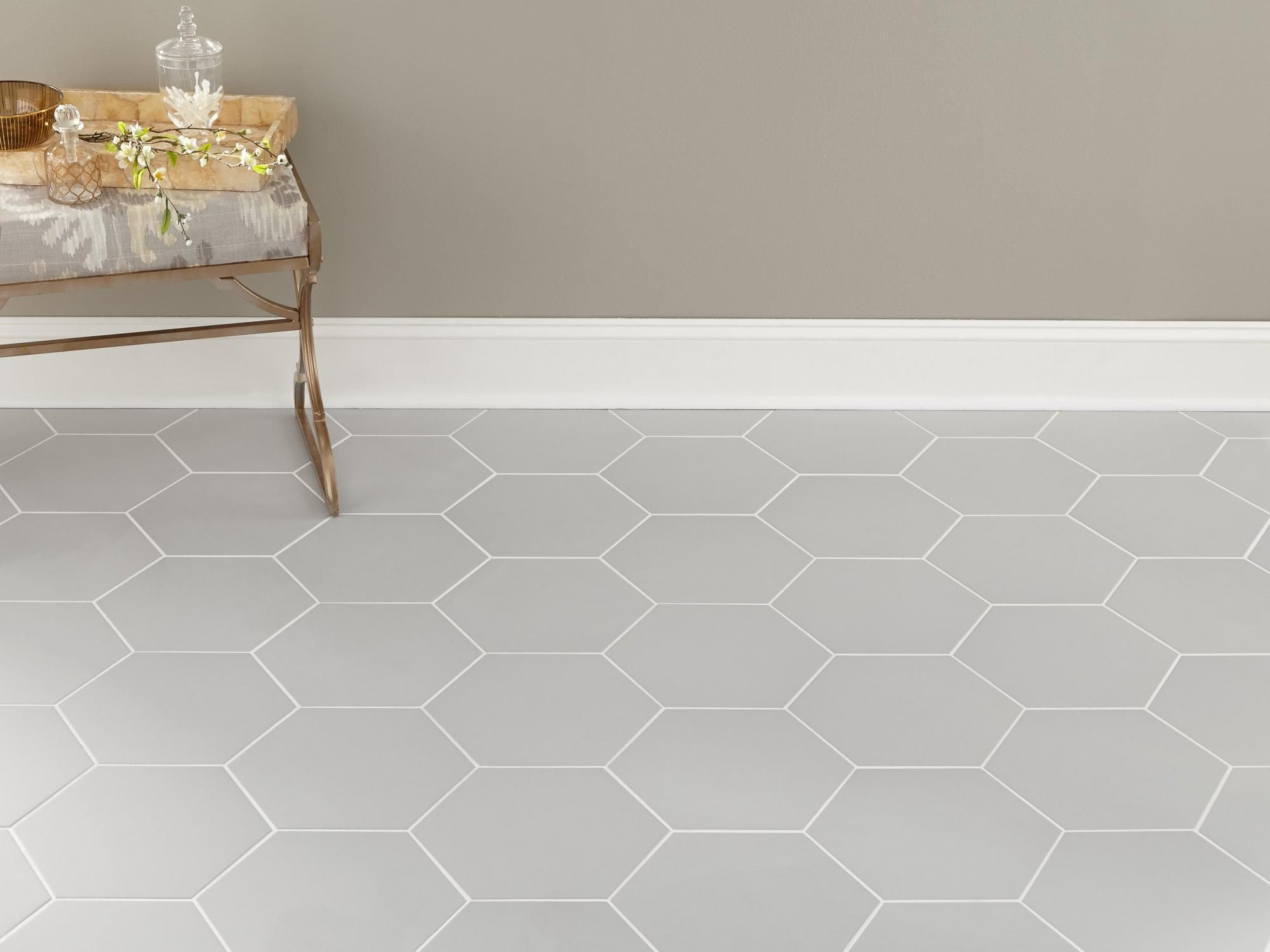 Opal Gray Hexagon Porcelain Tile In 2020 Honeycomb Tile Floor Hexagon Tile Bathroom Honeycomb Tiles Bathroom