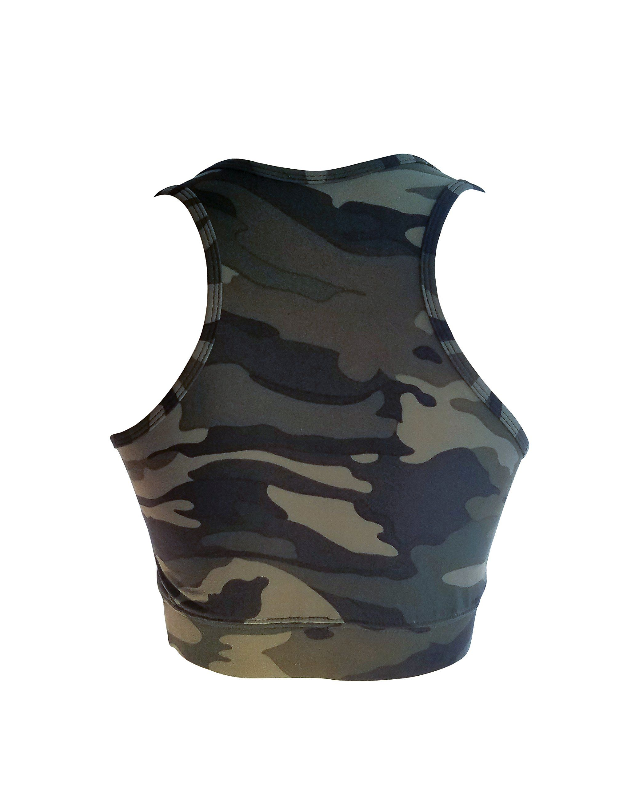 5abbd2ecb5 bluensquare Racerback Sports Bra For Women Camouflage Removable Pad Yoga  Gym Fitness Crop Top Camouflage