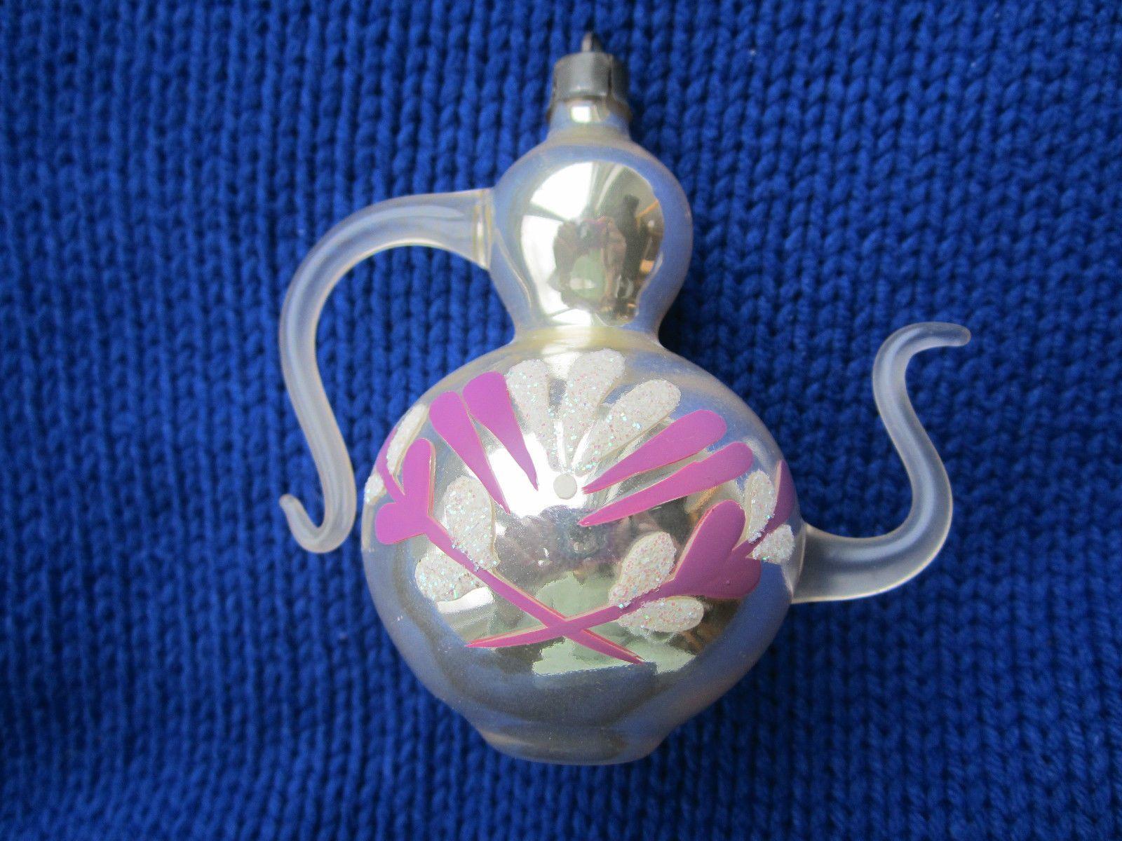 Vintage Blown Glass Teapot Ornament C 1950s Teapot Ornament Antique Christmas Ornaments Antique Christmas