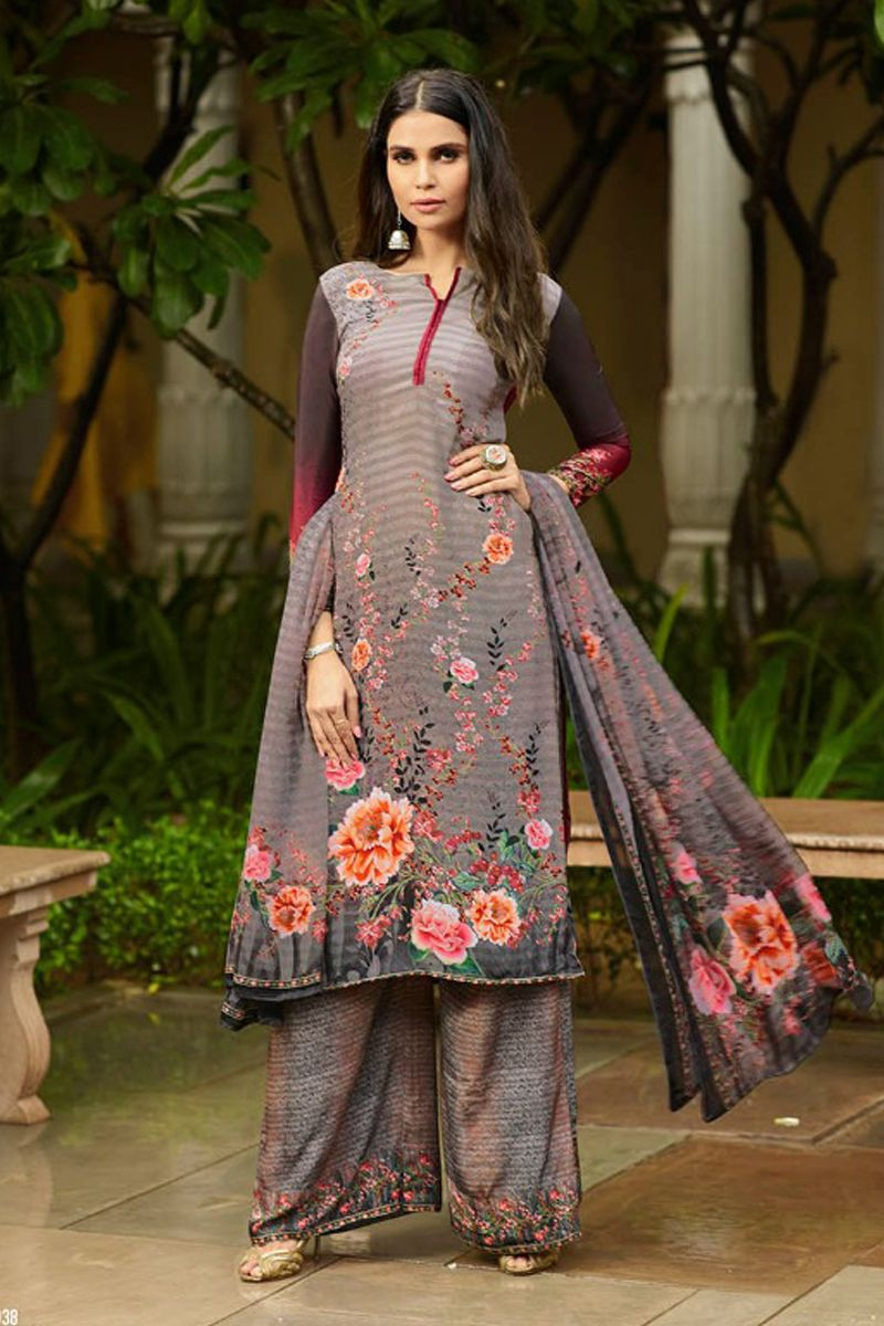 06e5b7f6e7 Grey-Floral-Print-Crepe-Daily-Wear-Palazzo-Salwar-Suit-1038-33753 ...