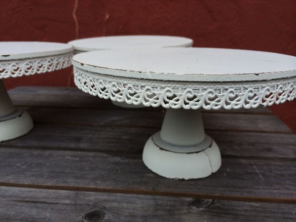 3 white wooden cake or dessert stands 45